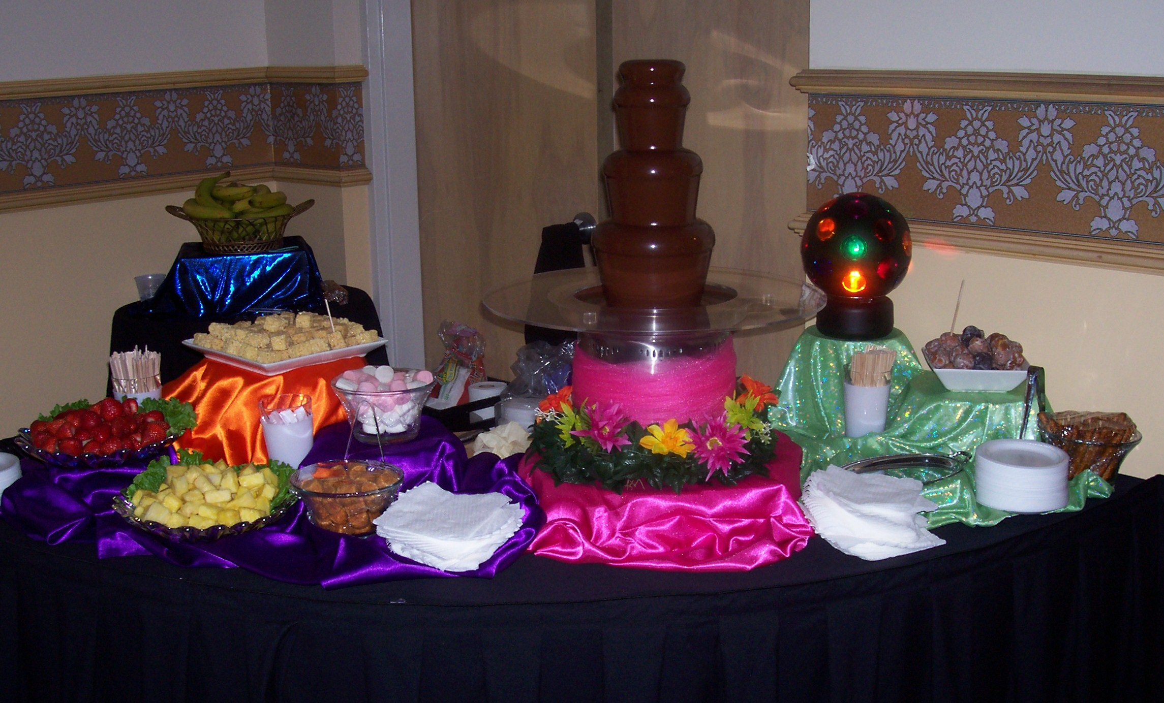 A chocolate fountain