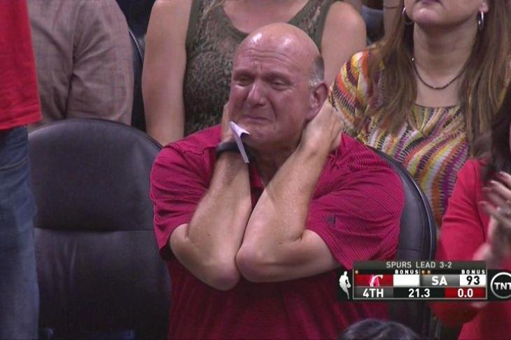 He cries.