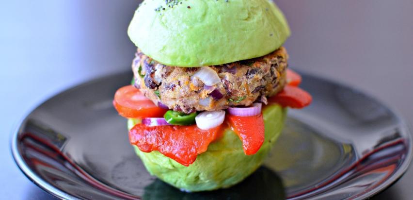 Burger on avocado bun
