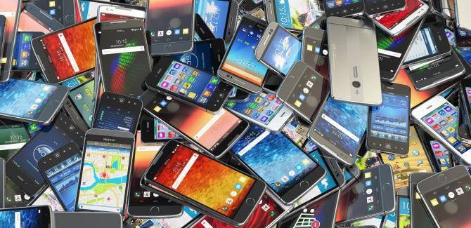 iPhone pile