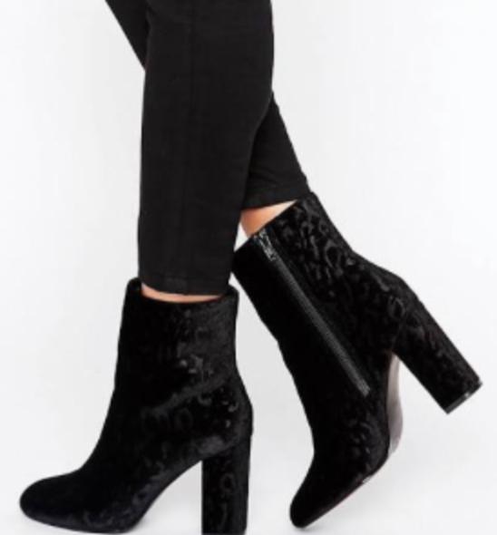 Faith Baro velvet heeled ankle boots