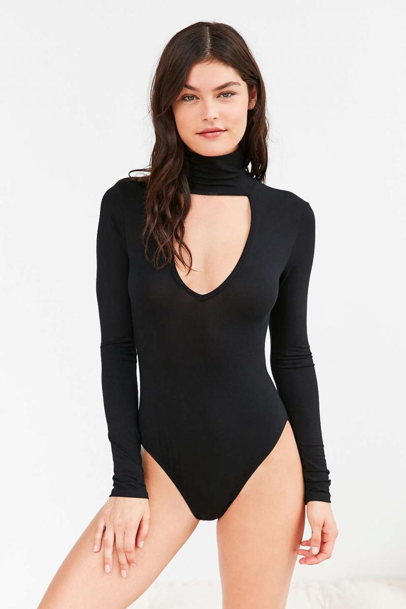 Out From Under Plunging Turtleneck Bodysuit