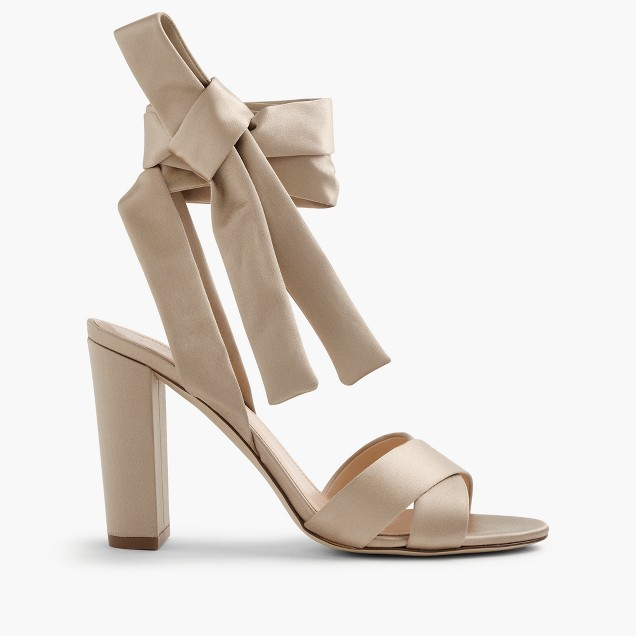 J Crew Satin Sandals With Ankle Wraps