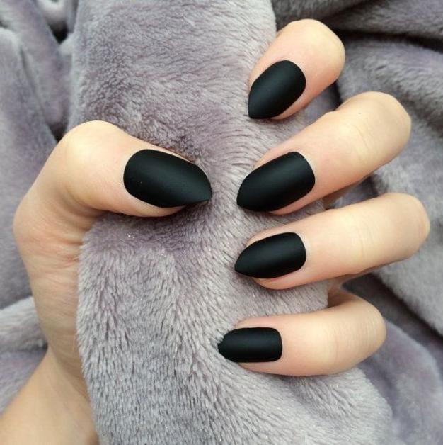 Matte Black Manicure