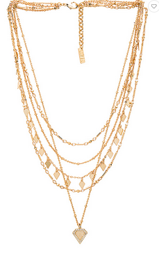 LUV AJ Moonstone Multi Charm Necklace