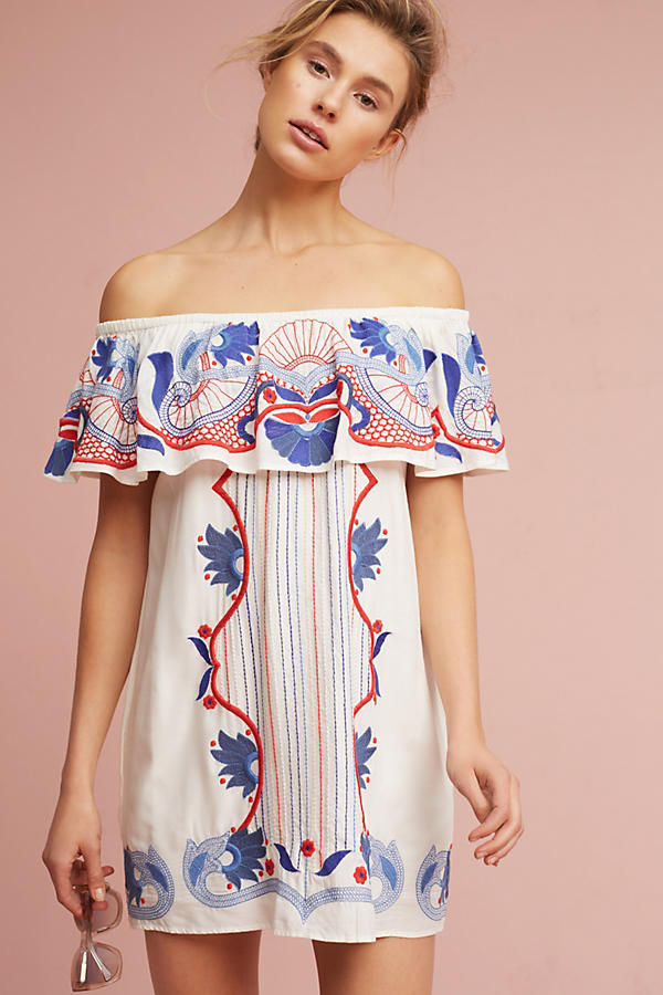 Embroidered Off The Shoulder Cover Up Anthropologie