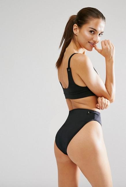 Mix And Match High Waist High Leg Bikini With Eyelets ASOS