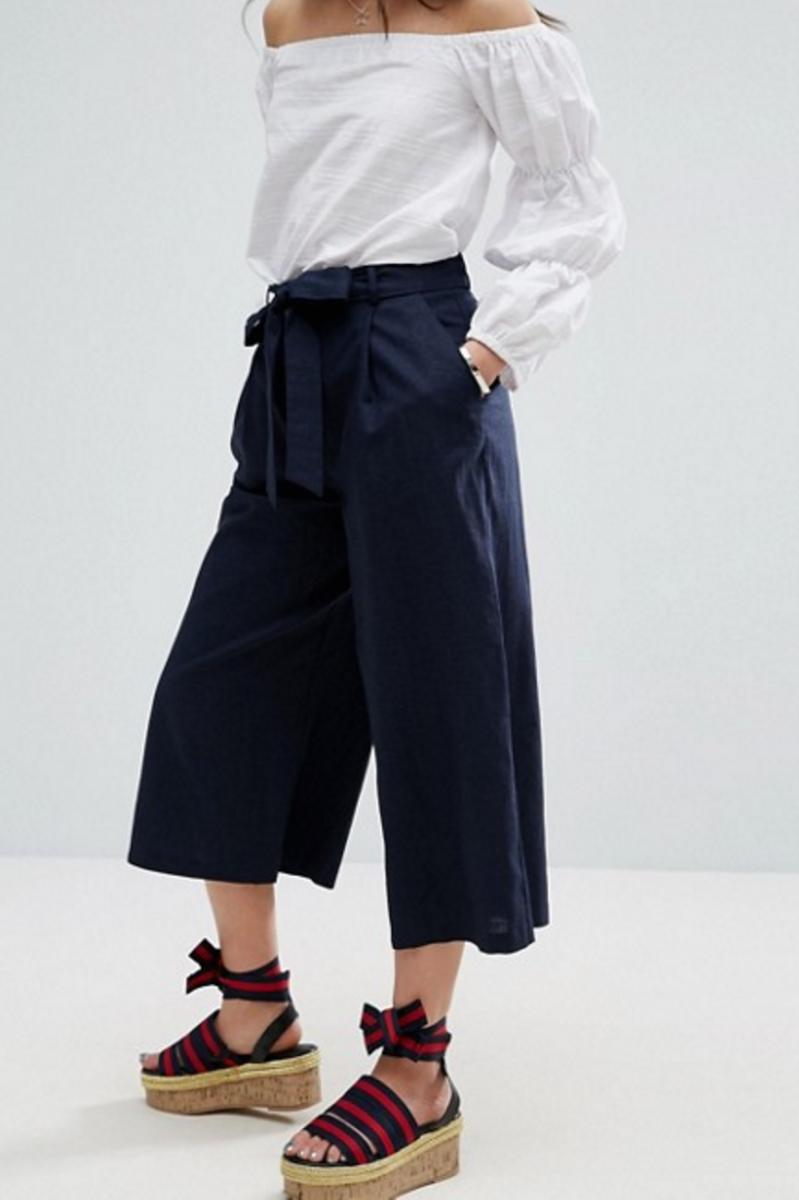 ASOS Petite Linen Culotte Pants