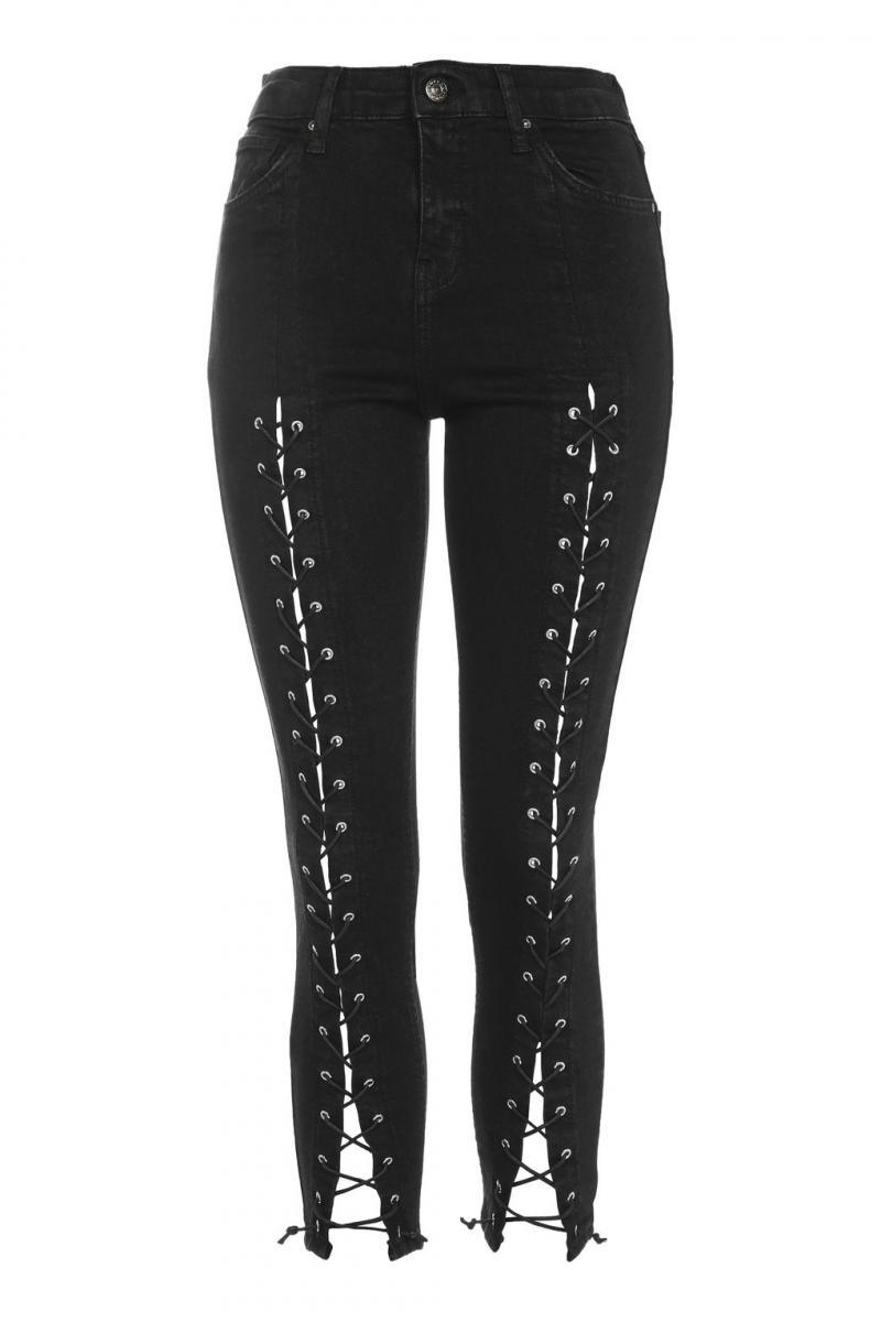 Petite Lace Up Jeans TopShop