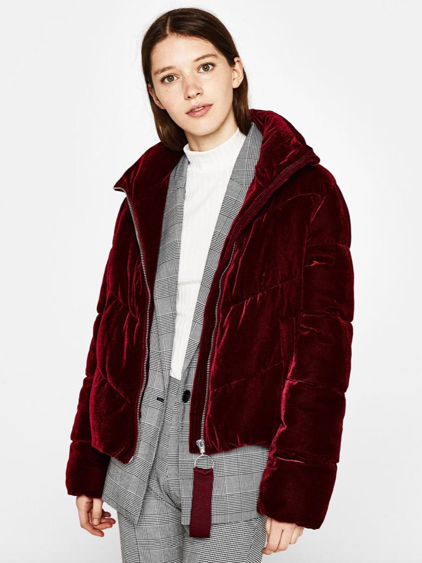 Bershka Velvet Puffer Jacket