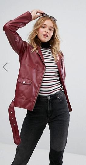 Monki Faux Leather Biker Jacket