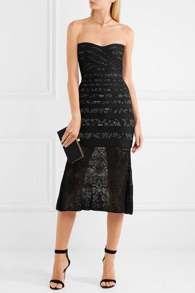 HERVÉ LÉGER Strapless pointelle-paneled bandage dress