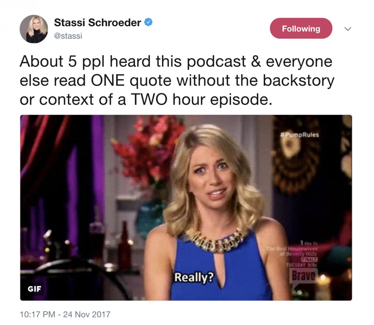 Stassi Schroeder Apology