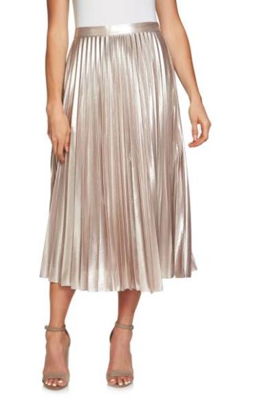 1.STATE Metallic Pleated Midi Skirt