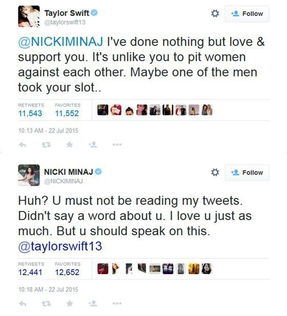 Nicki Minaj Taylor Swift Tweet