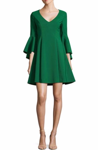 Belle Badgley Mischka Bell-Sleeve Fit-&-Flare Dress